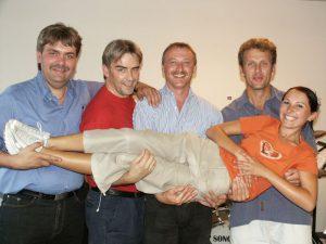 Ela & Gäugroup im Jahr 2003 – Johannes Scheffer, Hasso Kraus, Andrè Dietrich und Heiko Lohner (von links), vorne Michaela Kuti.